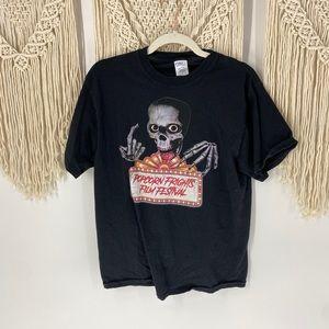 Popcorn Frights Film Festival Skull Graphic Tshirt